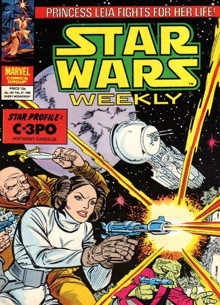 Star Wars Weekly #105 Cover dated: February 27th, 1980 Issue title: Day of the Assassins! (The Weapons Master!, Part 2) Script: Archie Goodwin Artwork: Carmine Infantino (pencils)/Steve Mitchell (inks) Tones: Howard Bender Letters: Joe Rosen Cover art: Carmine Infantino (pencils)/Bob Wiacek (inks)