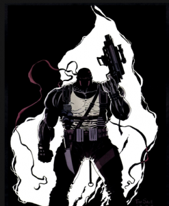 Deathblow pinup: Enormous muscled man backlit by white fire, holding a massive gun, with a knife strapped to his right thigh.