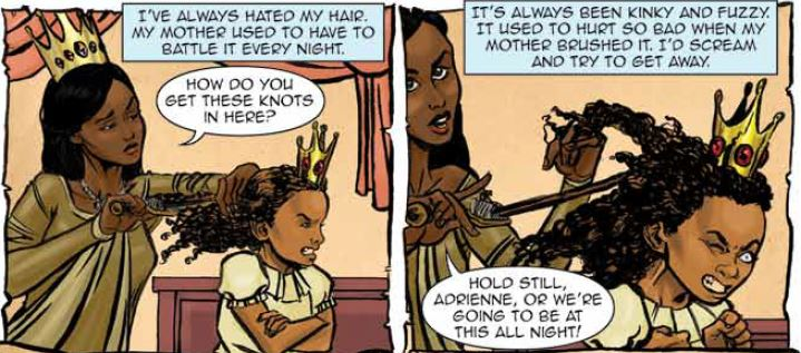Adrienne suffers as her mother brushes her hair. Princeless #0, Action Lab Comics, Dec. 15, 2017. Writer: Jeremy Whitley; Artist: Alex Smith; Letterer: Emily Spura