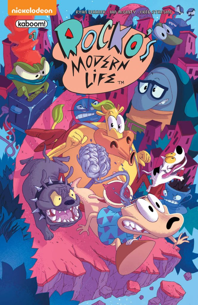 cover of issue one of rocko's modern life, rocko is fleeing from an angry dog as his brain trails behind him