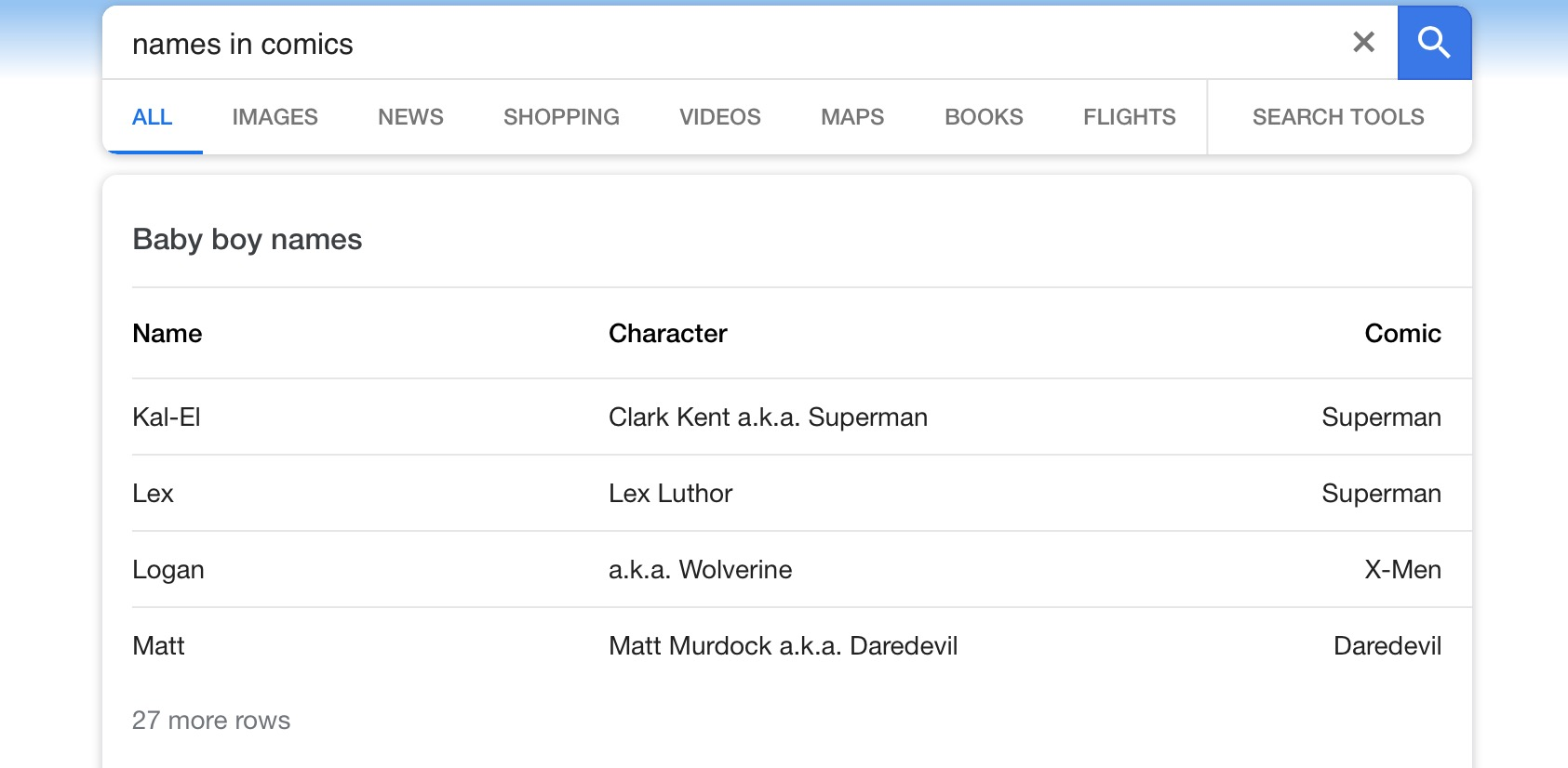 Google screenshot, superhero names