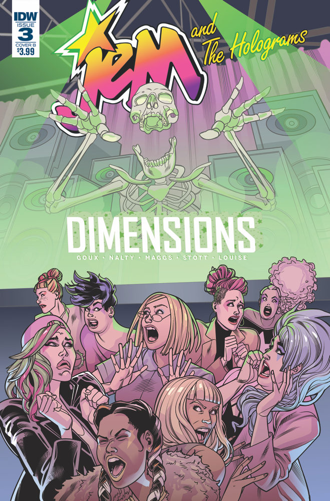 Jem and the Holograms Dimensions 3 Cover B. Shooting Stars Written by Nicole Goux. Drawn by Rebecca Nalty. Haunted Written by Sam Maggs. Drawn by Rachel Stott. IDW Publishing. 7 February 2018