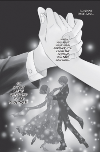 """Full page of the comic, a young man and woman clasping hands above their dancing silhouettes. """"Someone once said... when you meet your ideal partner, you know the instant you take her hand. As if you were destined to be together."""