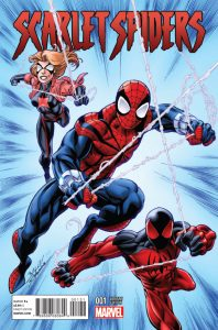 Scarlet Spiders #1: cover art by Mark Bagley, Scott Hanna, and Morry Jay Hollowell