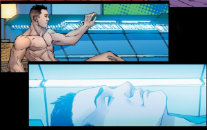 Upper panel is a very muscular and naked The SItuation getting into what looks like a blue tanning bed. The bottom panel is a closeup of The Situation's face bathed in blue light once the bed is closed.