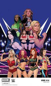WWE #14, Dennis Hopeless, Tini Howard (writers), Serg Acuña (artist), Dan Mora (cover artist), BOOM! Studios, February 21, 2018