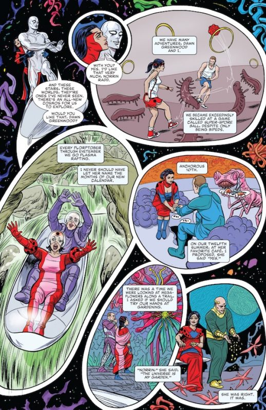 Montage of the Silver Surfer and Dawn having adventures and getting old in the universe before the Big Bang