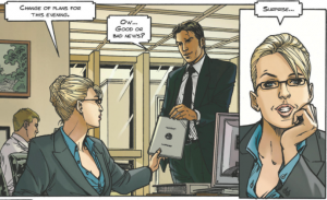 Blonde woman in a suit with a dress shirt unbuttoned down to just above the peak of her breasts, handing suited man (Sisco) a document and telling him his assignment has changed; inset closeup of the blonde woman's face and upper torso with funky sideways sorta-cleavage