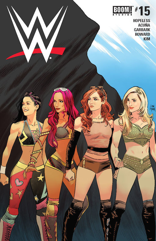 WWE #15 Publisher: BOOM! Studios Writers: Dennis Hopeless, Tini Howard Artists: Serg Acuña, Hyeonjin Kim Colorist: Douglass Garbark Letterer: Jim Campbell Cover Artists: Main Cover: Dan Mora