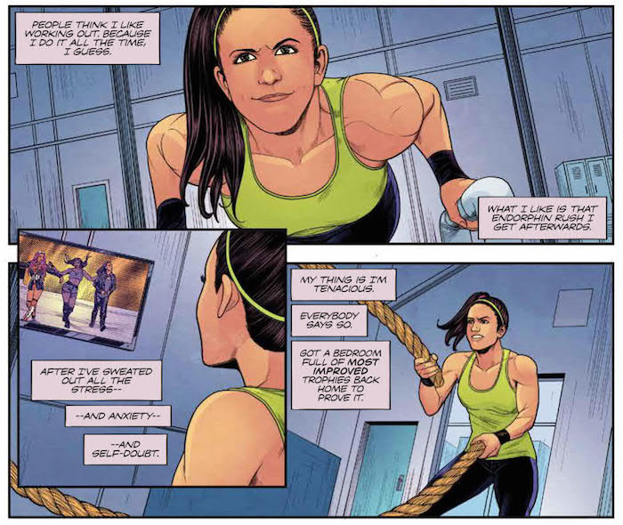 WWE #15 Publisher: BOOM! Studios Writers: Dennis Hopeless, Tini Howard Artists: Serg Acuña, Hyeonjin Kim Colorist: Douglass Garbark Letterer: Jim Campbell