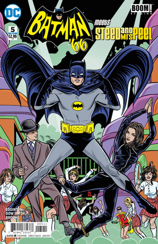 Batman '66 Meets Steed and Mrs Peel, Chris Rosa editor, other Ian Edginton writer Jessica Chen editor, other Kristy Quinn editor Laura Allred cover Matthew Dow Smith artist Mike Allred cover Wendy Broome colorist Wes Abbott letterer