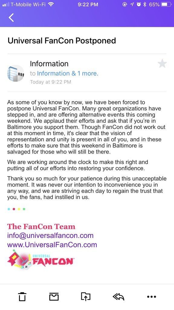 Universal Fan Con cancellation notification