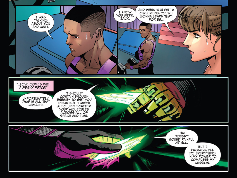 Kimberly & Zack juxtaposed with the Ranger Slayer and Finster-5 in Go Go Power Rangers #8