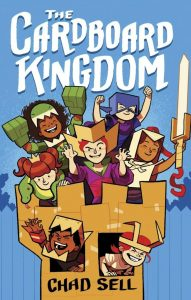 Cover: The Cardboard Kingdom over a castle turret filled with children in a variety of homemade costumes