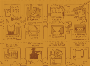 Map of the Cardboard Kingdom, laying out each child's house, denoted by their personas