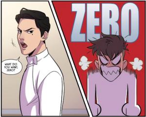 "Seiji taunts Nicholas by calling him ""Zero."" Nicholas goes super-cartoony angry."