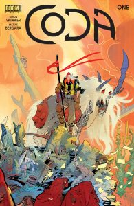 Cover for Coda #1 - A colorful illustration of a warrior standing atop a rock with a staff; behind them stands a horse-like creature with red eyes and a long white mane