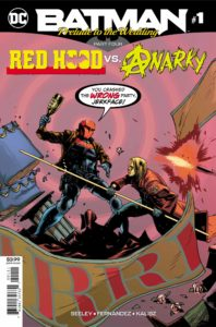 Red Hood fighting Anarky amid a protest
