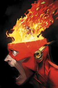 Flash's head with flames coming out of the mask