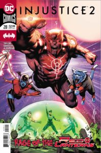 Red Lanterns flying over a Domed Hal Jordan