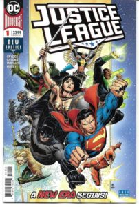 The Justice League (Superman, Batman, Wonder Woman, Green Lantern, Flash, Aquaman, Hawkgirl and Martian Manhunter) flying at the reader
