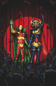 Mister Miracle and Barda in front of a red curtain, waving