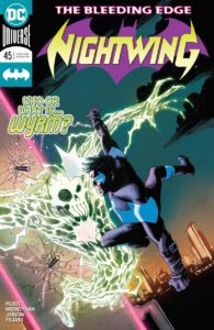 Nightwing fighting an electric monster