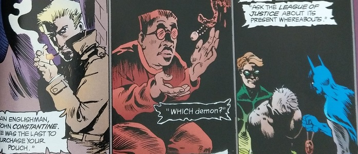 Three panels: One, John Constantine, the middle a kneeling man in red, the third a criminal caught by Batman.