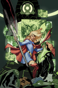 Supergirl facing off against Green Lanterns holding the axe