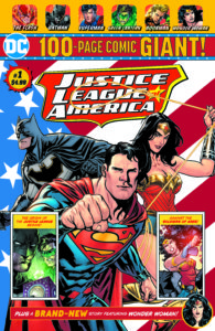Superman, Batman and Wonder Woman in front of the American Flag
