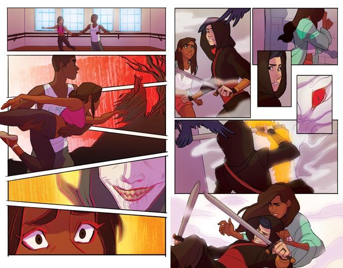 Circadia #2, interior pages. Circadia #2; Jennifer Dugan (writer), MJ Erickson (artist), Ariana Maher (letterer), Eli Baumgartner (cover artist); 2018.