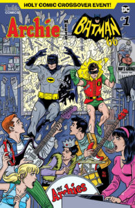 Archie Meets Batman '66 #1: The Batman of Riverdale Cover A. Written by Michael Moreci and Jeff Parker, drawn by Dan Parent. Archie Comics and DC Entertainment. July 18, 2018