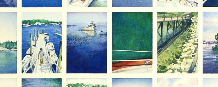 a collection of landscape watercolor paintings featuring a harbor