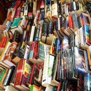 messy rows of books