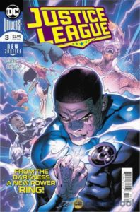 John Stewart as an Ultra Violet Lantern looking menacing over the rest of the Justice League