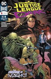 The new Justice League Dark team: Swamp Thing, Zatana, Detective Chimp, Man-Bat, Wonder Woman