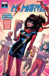 Ms. Marvel and her friends Nakia, Zoe and Mike all stand in heroic poses