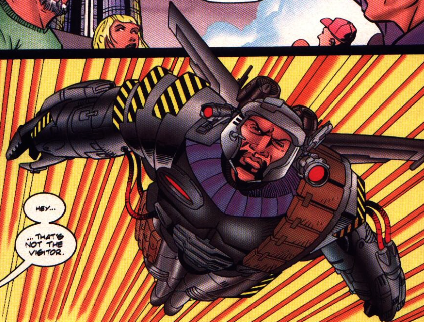 Mech-2000 from The Visitor #4, Valiant Comics, Written by Kevin Van Hook Pencils Bernard Chang Inks Bob McLeod Colored by Comicolor Stu Suchit
