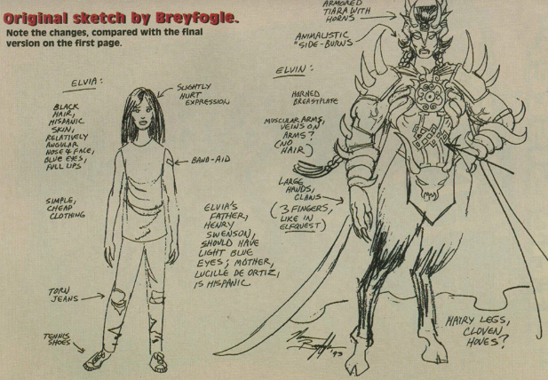 Norm Breyfogle's Elvira/Elven designs, for Malibu comics 1993