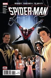Miles Morales swings over his entire supporting cast