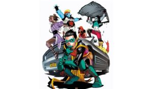 The new Teen Titans team around a car