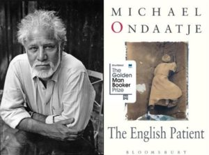 Michael Ondaatje next to his novel, The English Patient