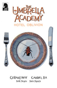 Cover for The Umbrella Academy: Hotel Oblivion #1 - A plate, knife, and fork resting on a white background, with a red cockroach on the plate