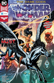 Wonder Woman riding a pegasus in front of the Dark Gods