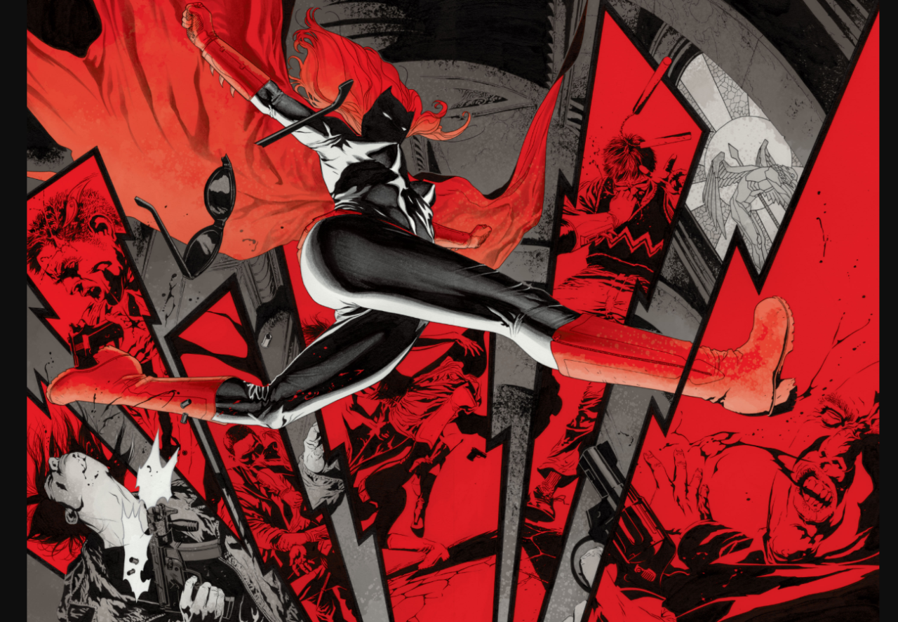 An inventive double page spread from JH Williams III and Greg Rucka's Batwoman: Elegy, done in reds, blacks, and greys -- she leaps over panels showing men after being hit by her