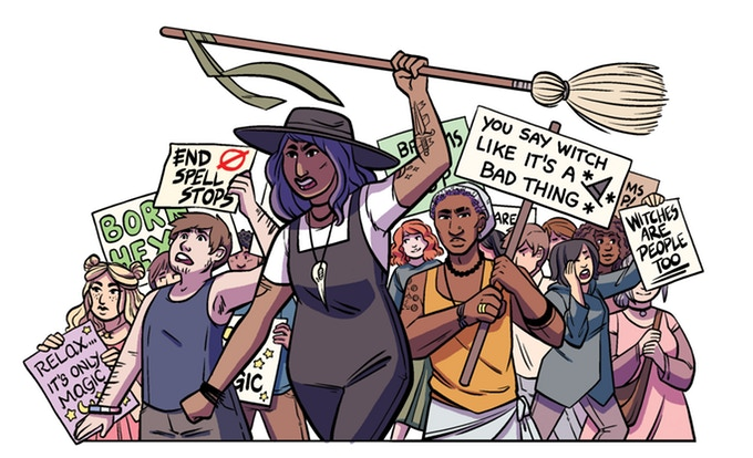 I Am Hexed promo image. Witches of varying skin tones and gender presentations march together, holding brooms and signs. I Am Hexed; Kirsten Thompson (writer), Christianne Gillenard-Goudreau (artist).