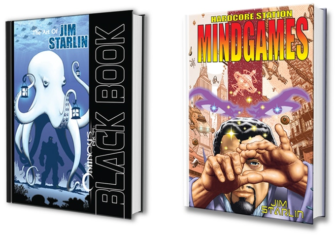 Covers for Black Book: The Art of Jim Starlin and Mindgames. Both published by Ominous Press, 2018. Artwork by Jim Starlin.