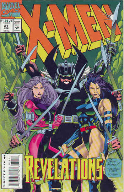The cover of X-Men #31, featuring Betsy as Psylocke, and Kwannon as Revanche, with Spiral looming in the background