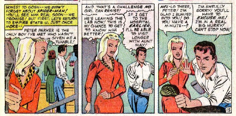 Gwen Stacy's red dress with a leopard collar