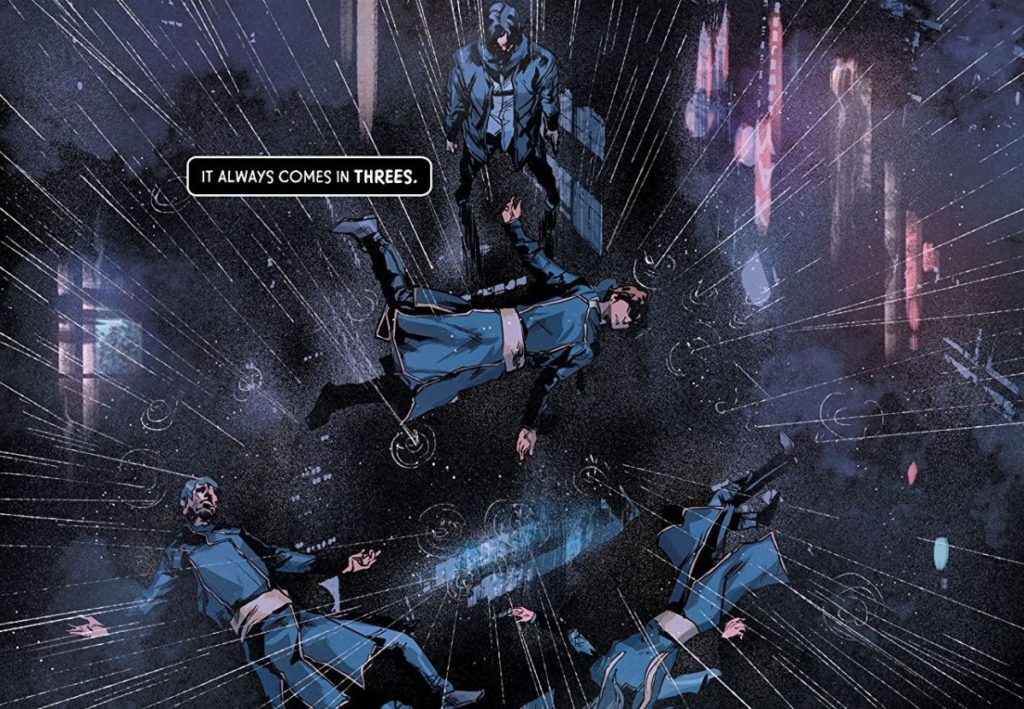 Panel from God Complex Volume 1: Dogma (Top Cow Productions, 2018) which shows three characters seemingly falling into space with the caption It always comes in threes